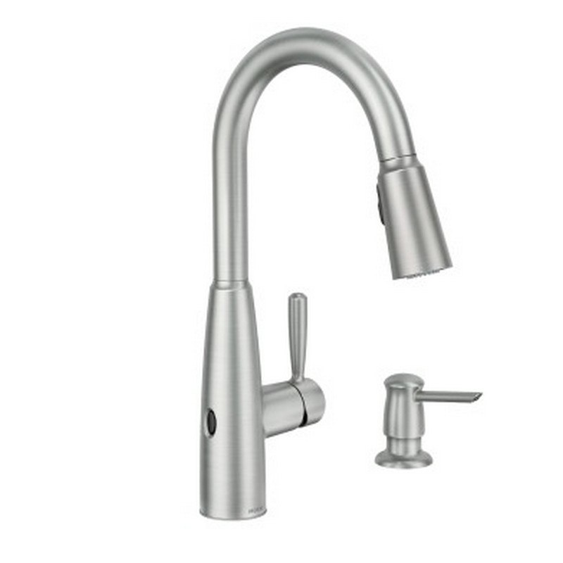 moen 87696ewsrs sperry motionsense wave one handle pulldown kitchen faucet in spot resist stainless