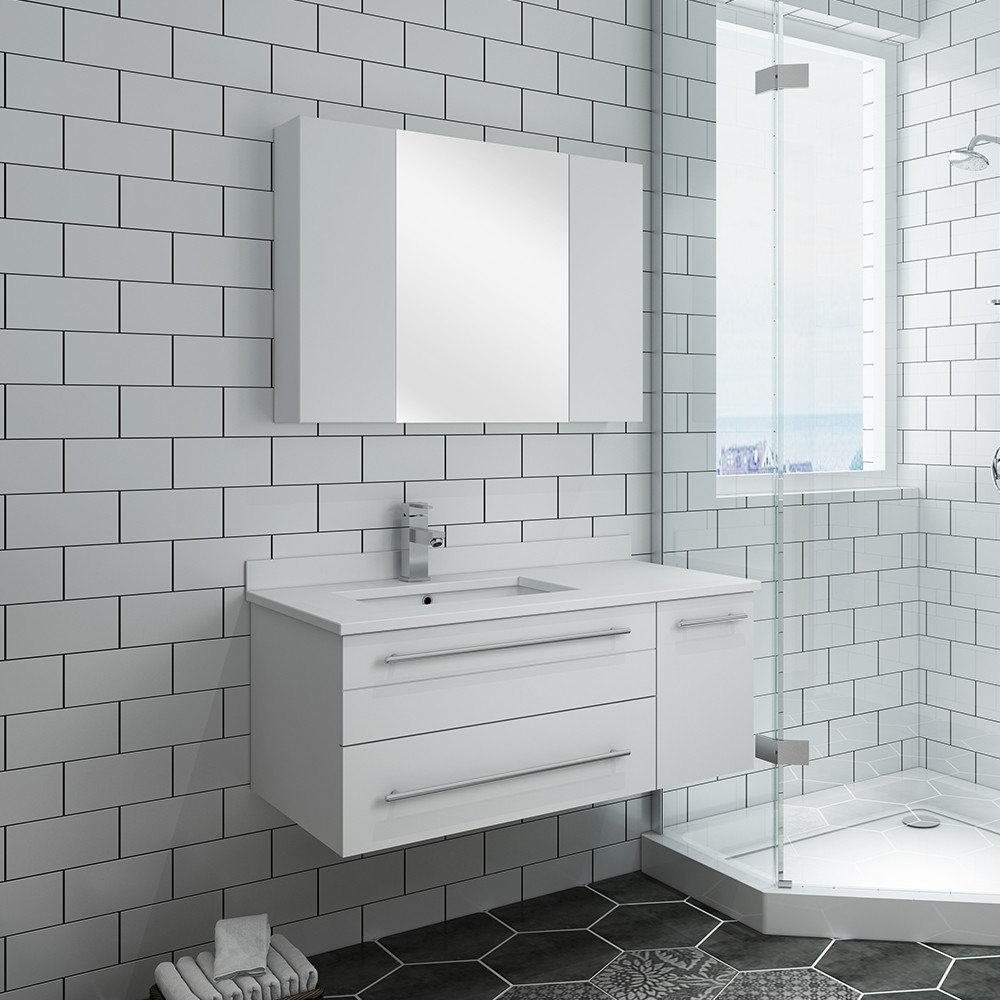 fresca fvn6136wh uns l lucera 36 inch white wall hung undermount sink modern bathroom vanity with medicine cabinet left version
