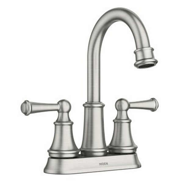 moen 84162srn brecklyn two handle high arc bathroom faucet in spot resist brushed nickel