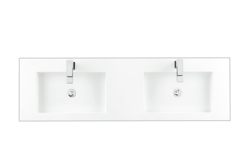 james martin ss 368 mw 59 inch solid surface vanity top with 2 integrated sinks in matte finish