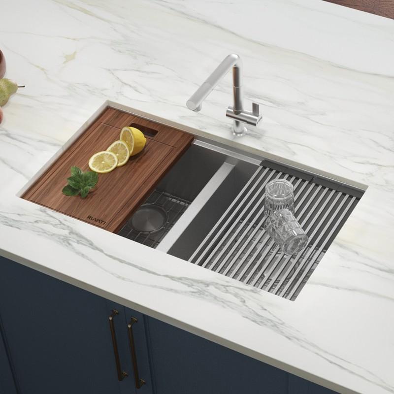 ruvati rvh8356 roma 33 x 19 inch workstation ledge 60 40 double bowl undermount 16 gauge stainless steel kitchen sink