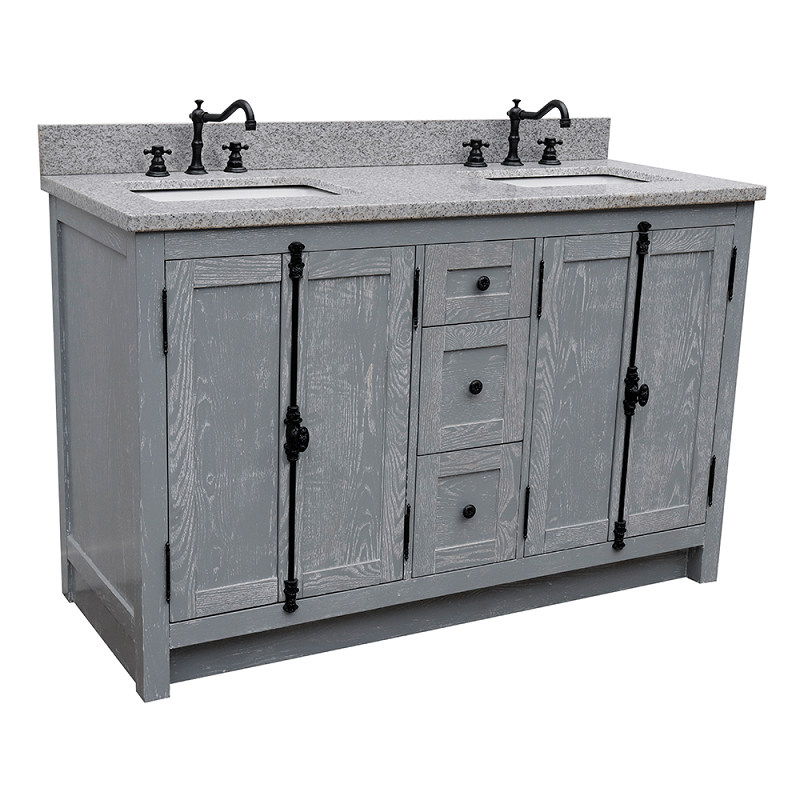 bellaterra 400100 55 gya gy plantation 55 inch double vanity in gray ash with grey granite top and rectangle sink