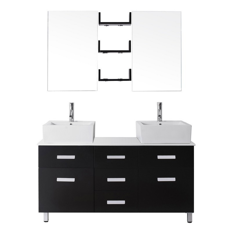 virtu usa um 3063 s maybell 55 inch double bath vanity with white engineered stone top and square sink with polished chrome faucet and mirrors