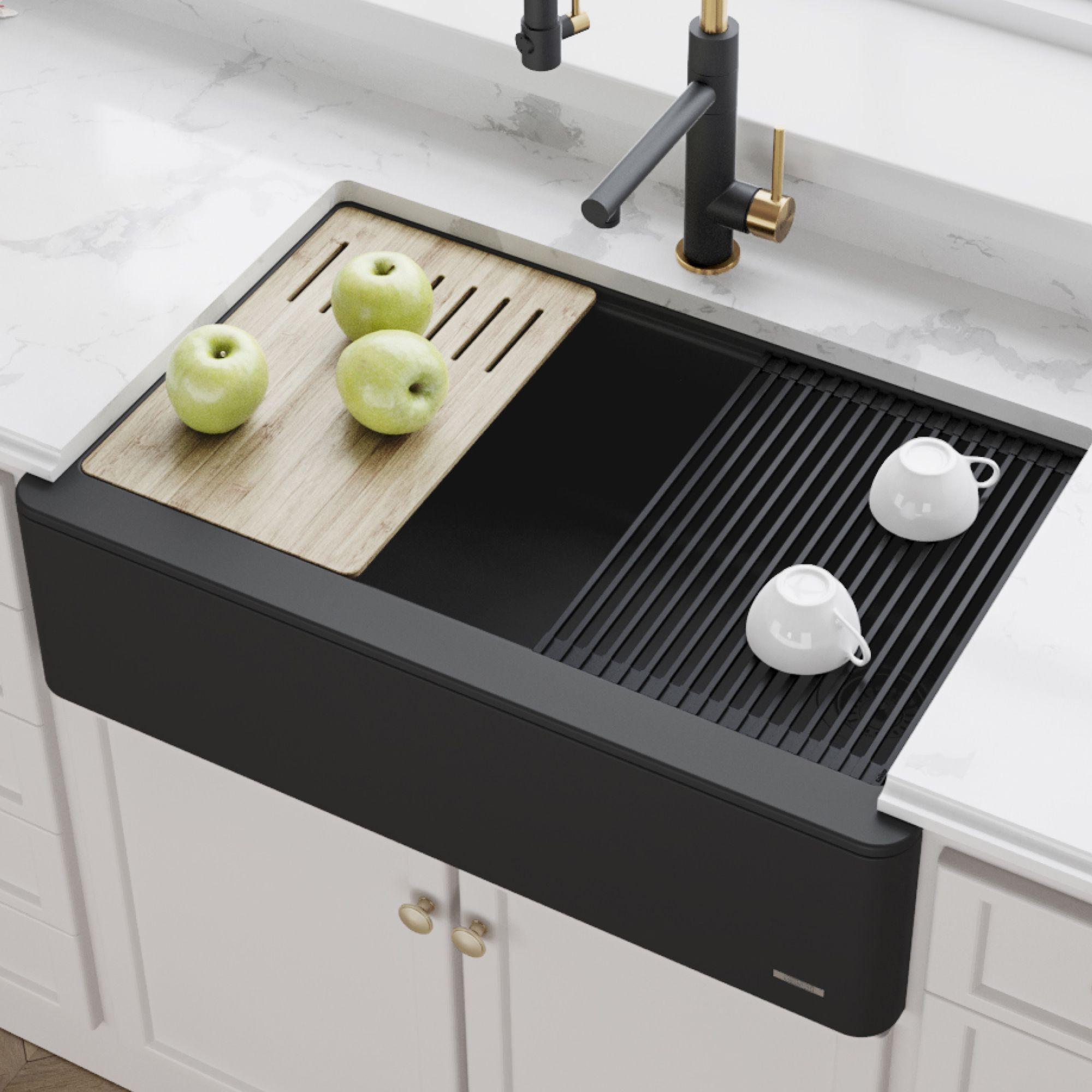 kraus kgf1 33black bellucci 33 inch quartz farmhouse apron front kitchen sink with ceramtek in black