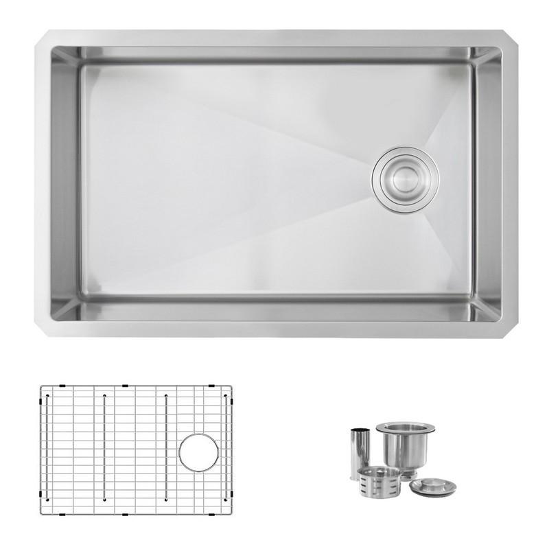 azuni c128 28 x 18 inch undermount single bowl stainless steel kitchen sink with grid and strainer