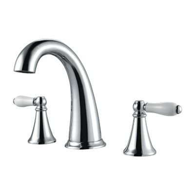 pfister lf 049 kycc kaylon 7 inch deck mount two lever handle widespread bathroom faucet with push and seal polished chrome