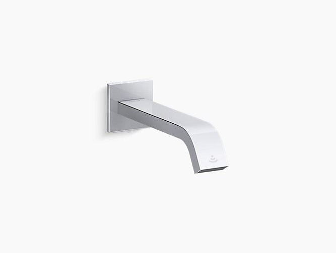 kohler k 124l36 sanl cp loure wall mount touchless faucet with kinesis sensor technology dc powered
