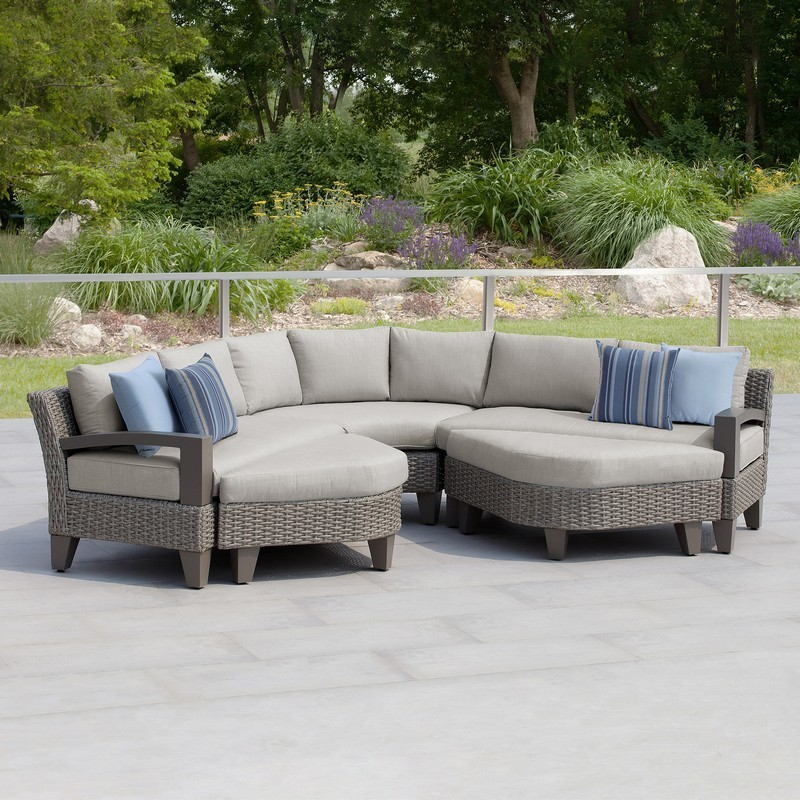 martha stewart 15pksr oak205 gr1vi oakland 119 inch 5 piece grey sectional patio set with ottomans