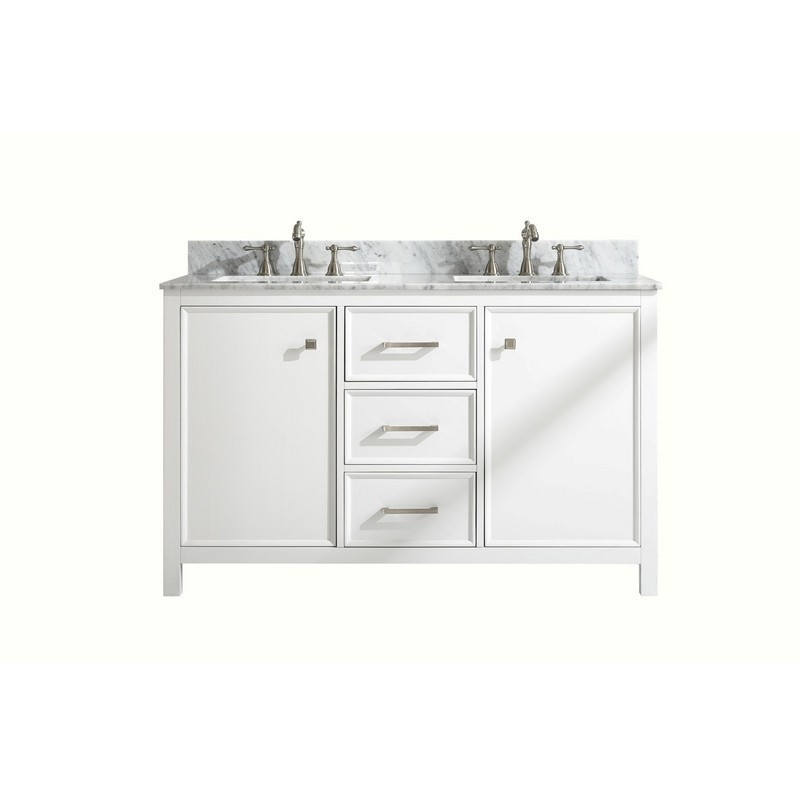 legion furniture wlf2154 w 54 inch white finish double sink vanity cabinet with carrara white top