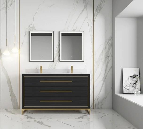 alma premium vanities b10 60d gd barsalona 59 3 4 inch freestanding golden brass hardware double sink bath vanity dawn grey