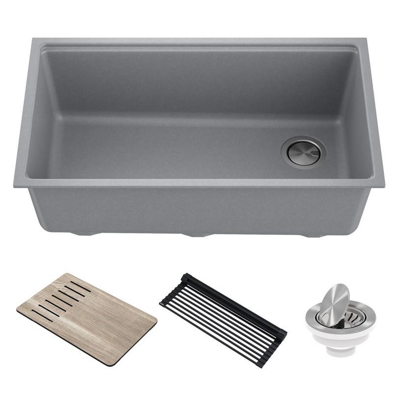 kraus kguw2 33mbr bellucci workstation 33 inch undermount granite composite single bowl kitchen sink metallic brown
