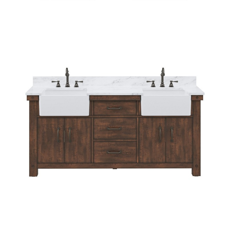water creation py72cw03rs 000tl1203 paisley 72 inch double sink carrara white marble countertop vanity in rustic sienna with hook faucet