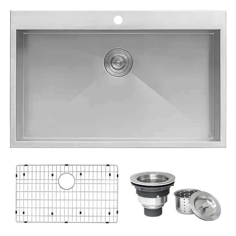 ruvati rvh8000 tirana neo 33 x 22 inch drop in topmount 16 gauge zero radius stainless steel single bowl kitchen sink