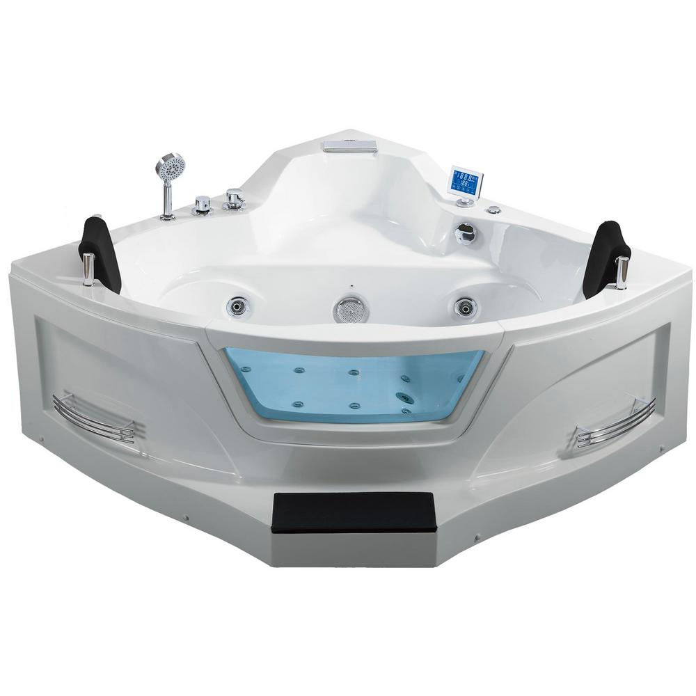 ariel hw123 61 inch acrylic alcove corner whirlpool bathtub with waterfall tub filler faucet and center drain in white