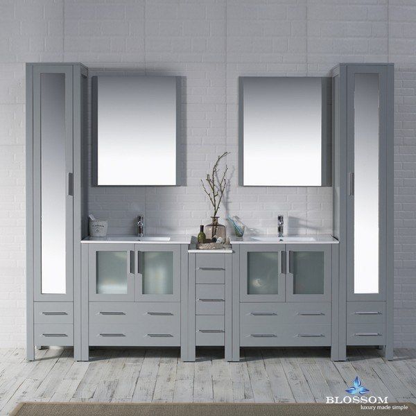 blossom 001 102 15 mlc sydney 102 inch vanity set with mirror linen cabinet in metal grey