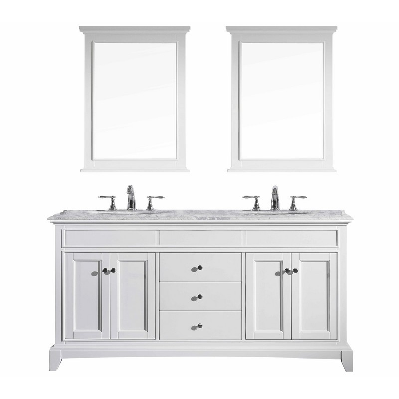 eviva evvn709 72wh elite stamford 72 inch white solid wood bathroom vanity set with double og white carrera marble top and white undermount porcelain