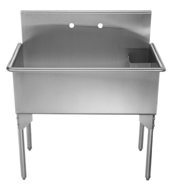 whitehaus whls3618 np 36 inch brushed stainless steel freestanding utility sink