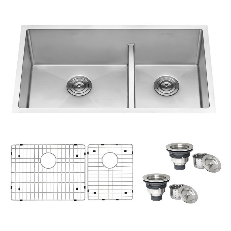https www kbauthority com ruvati rvh7419 gravena 33 inch low divide undermount tight radius 60 40 double bowl 16 gauge stainless steel kitchen sink html
