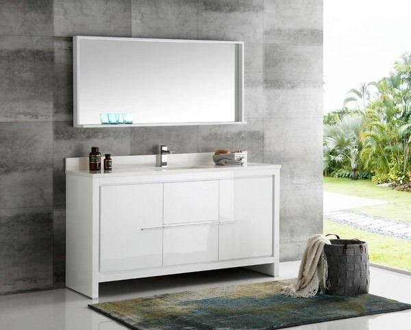 fresca fvn8119wh s trieste allier 60 inch white modern single sink bathroom vanity with mirror