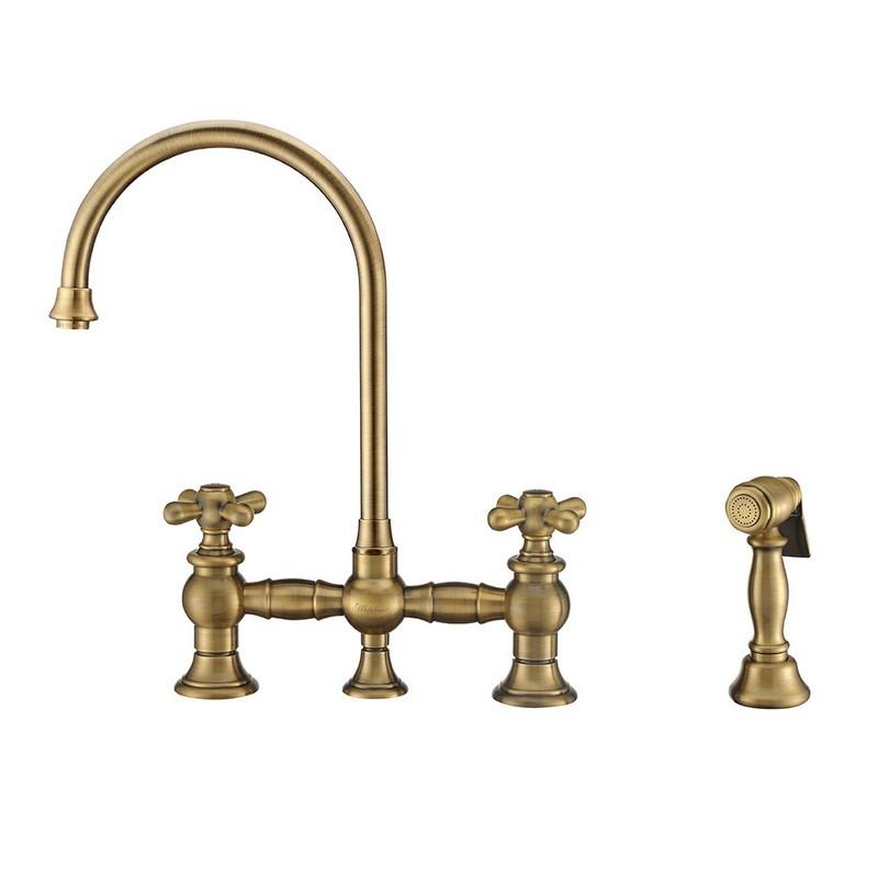 whitehaus whkbtcr3 9101 nt ab vintage iii plus bridge faucet with long gooseneck swivel spout cross handles and solid brass side spray antique brass
