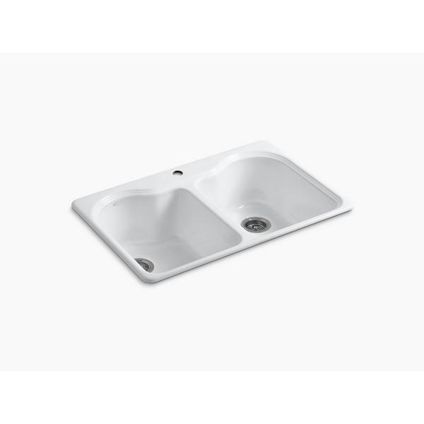 kohler k 5818 1 hartland 33 inch double basin top mount enameled cast iron kitchen sink
