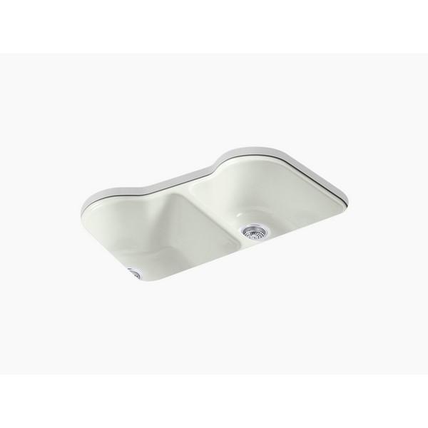 kohler 5818 5u hartland 33 inch double basin under mount enameled cast iron kitchen sink dune