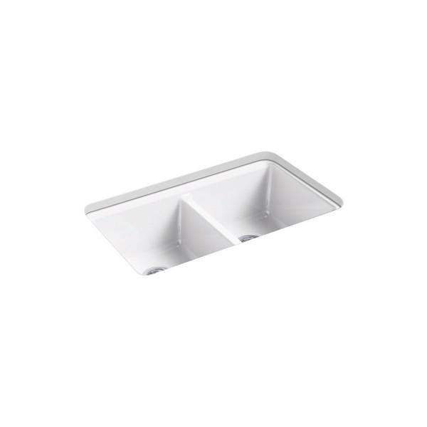 kohler k 8679 5ua3 riverby 33 inch undermount double basin cast iron kitchen sink
