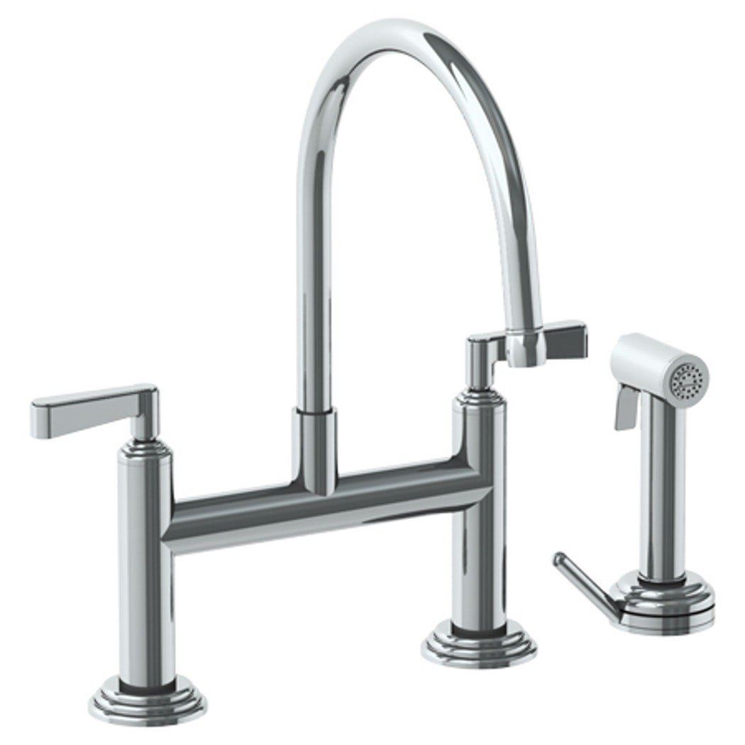 watermark 29 7 65 transitional 14 7 8 inch three holes deck mount bridge kitchen faucet with independent side spray