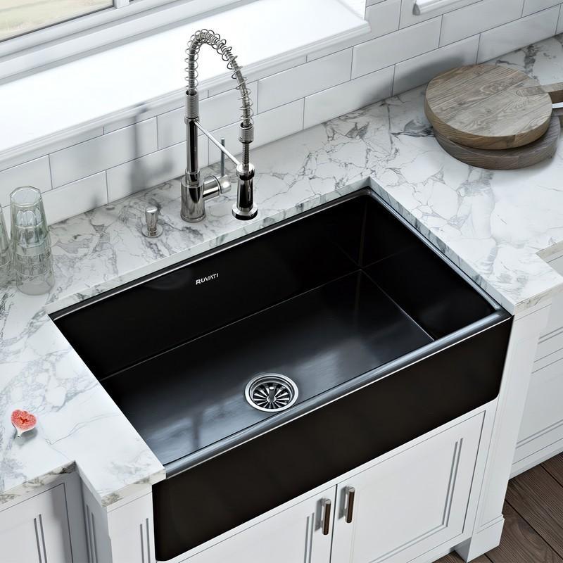 ruvati rvl2100bkbk fiamma 30 x 20 inch fireclay reversible farmhouse apron front single bowl kitchen sink gloss black