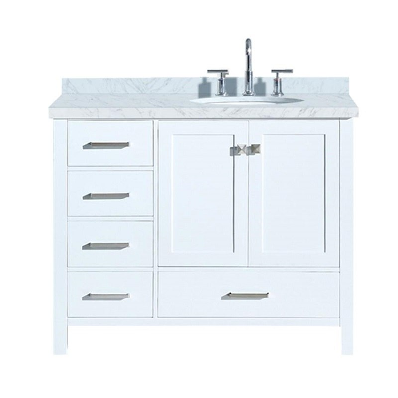 ariel a043s r vo cambridge 43 inch right offset single oval sink vanity