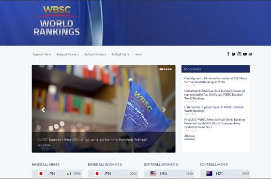 WBSC launches World Rankings web platform for Baseball and Softball