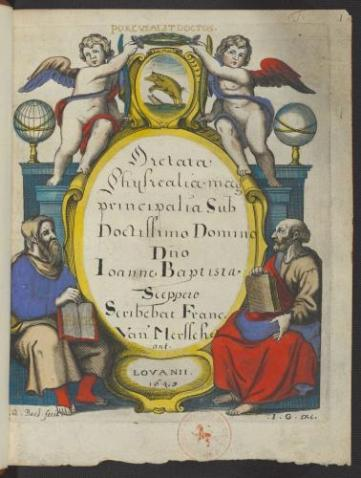 Title page, probably from 1643 (with Plato and Aristotle and the emblem of The Pig College (ms. II 168)
