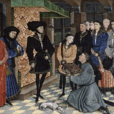 Jean Wauquelin presents his work to Philip the Good. Miniature by Rogier van der Weyden in the Chroniques de Hainaut. KBR, ms 9242, f. 1r