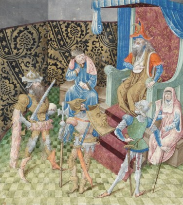 Alexander the Great, Hannibal and Scipio Africanus go to King Minos because they want to know which of them was considered to be greatest. Miniature by Jean Le Tavernier in Lucien de Samosate,, Débat d'honneur. KBR, ms 9278-80