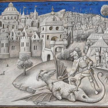 Combat du consul Marcus Actilius et de l'animal fabuleux. Miniature de Willem Vrelant dans Leonardo Bruni, Première guerre punique. KBR, ms 10777, f 58r