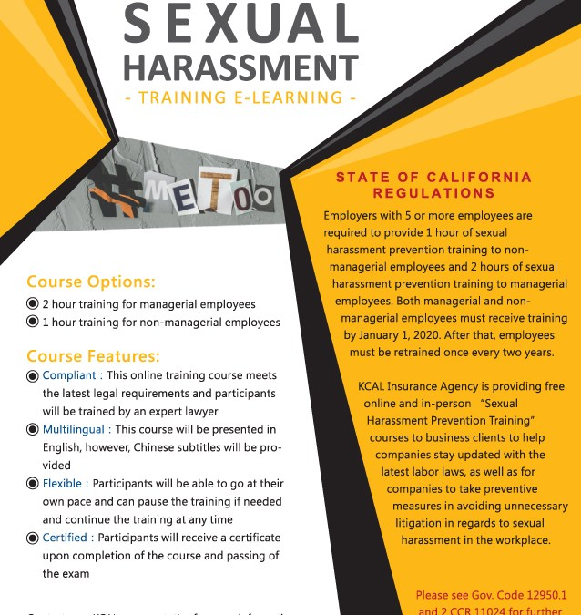 KCAL Offers Workplace Sexual Harassment Prevention Training
