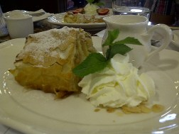 Apfelstrudel with vanilla sauce at Cafe Central