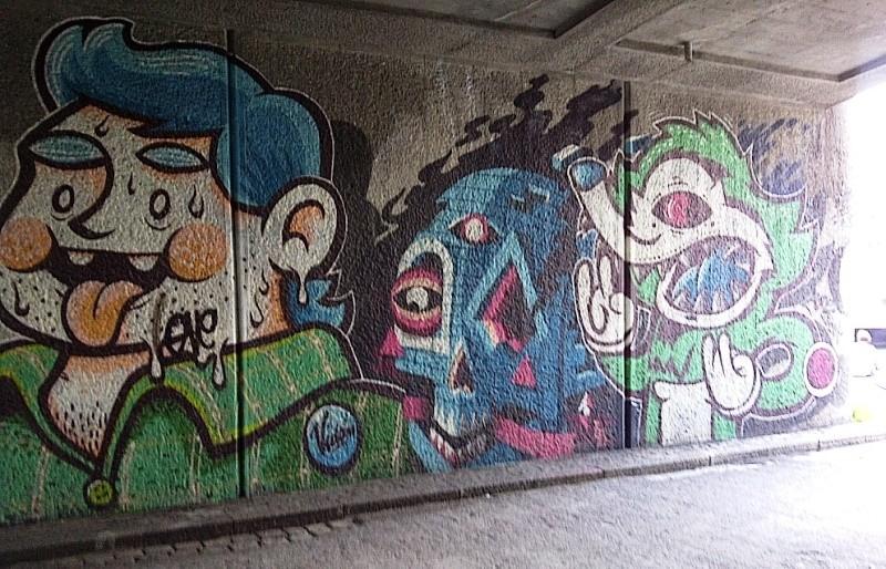 Graffiti under Bridge on Donaukanal, Vienna, Austria, 2014