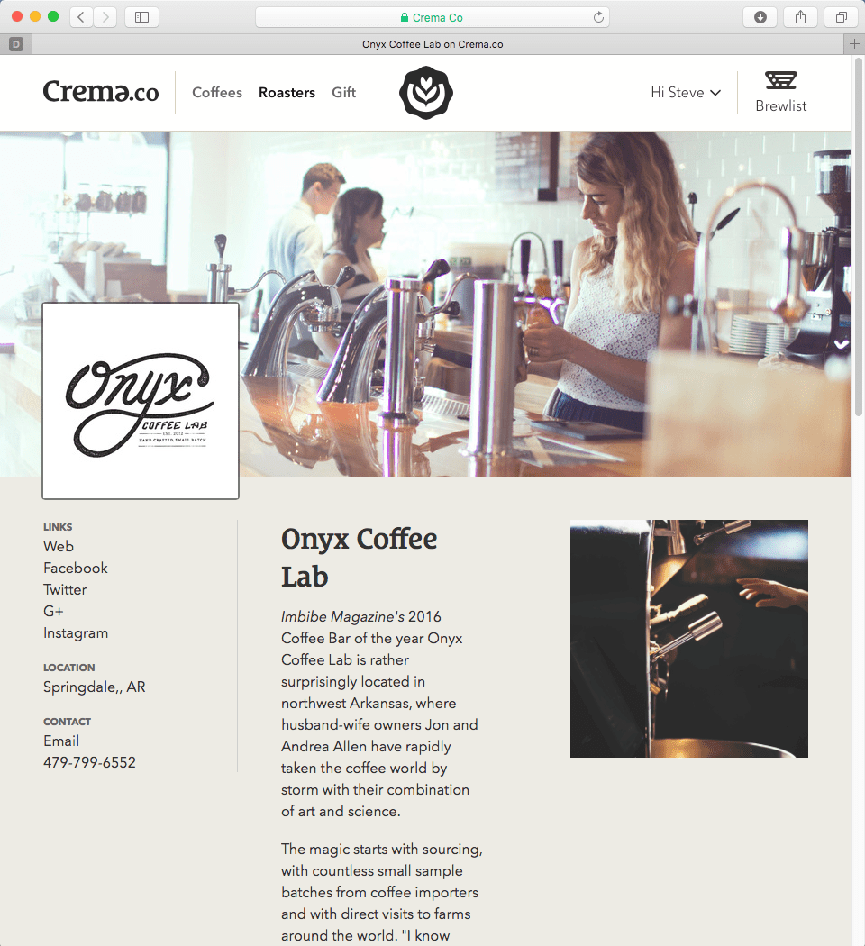Crema Roasters Page