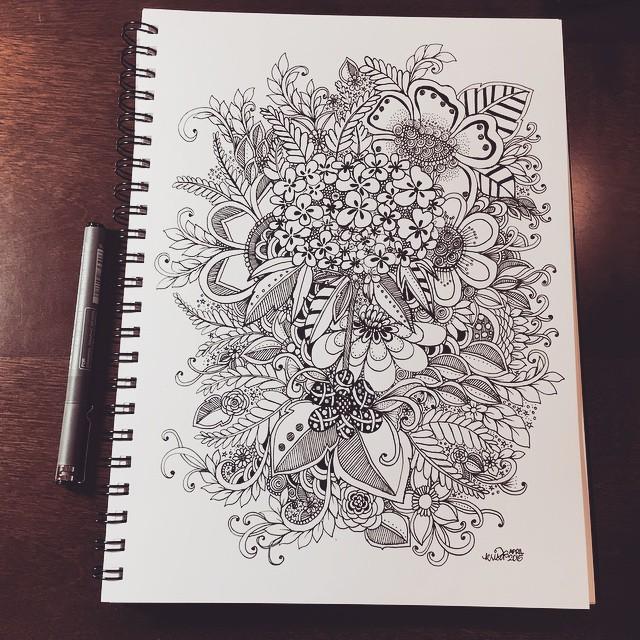 Vines Flowers Leafy Doodles Kcdoodleart Com