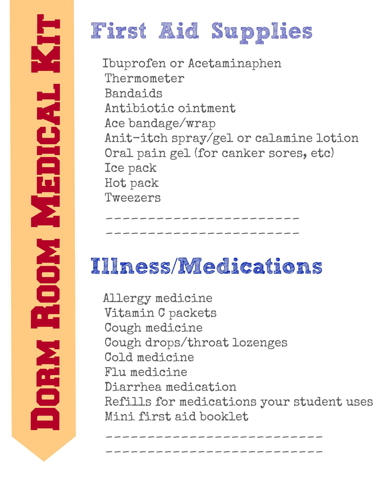 Diy First Aid Kit List With Free Printable