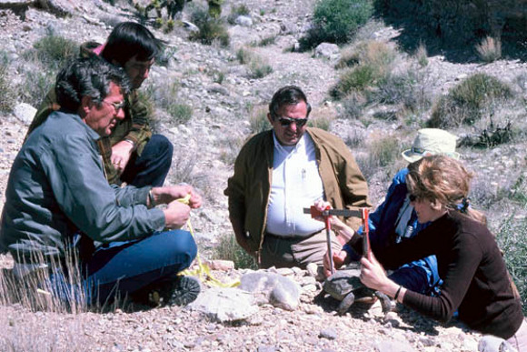 Bill Radtkey, former California State Wildlife Biologist for BLM (far left) and Don Seibert, Arizona State Wildlife Biologist for BLM (second from right) and Dr. Berry (far right). | Photo: Courtesy Dr. Berry.