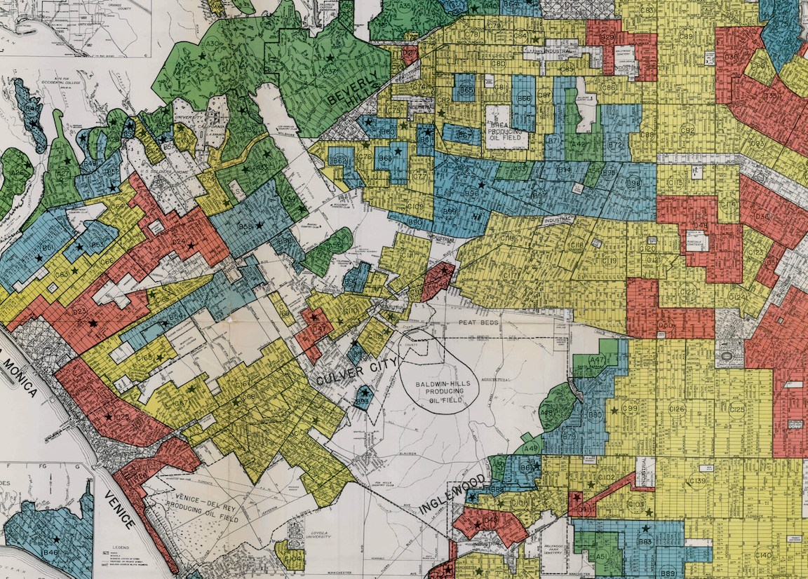 HD Decor Images » Segregation in the City of Angels  A 1939 Map of Housing Inequality     1939 HOLC  redlining  map of central Los Angeles