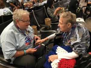 May 2015 Waiting in Airport Marjorie and Patty
