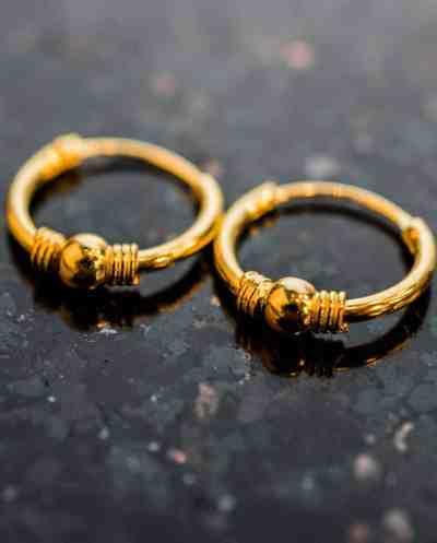 'Bali stripe' Gouden oorbellen 12 mm