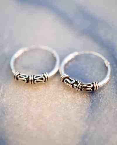 'Bali Double Snake' Sterling zilveren oorbellen 14 mm