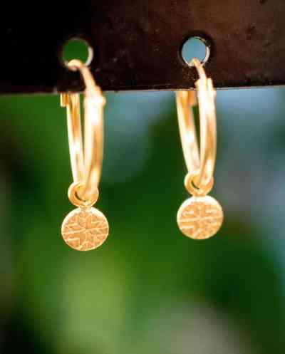 Gouden oorbellen 'Coin Hoops' van Goud Vermeil