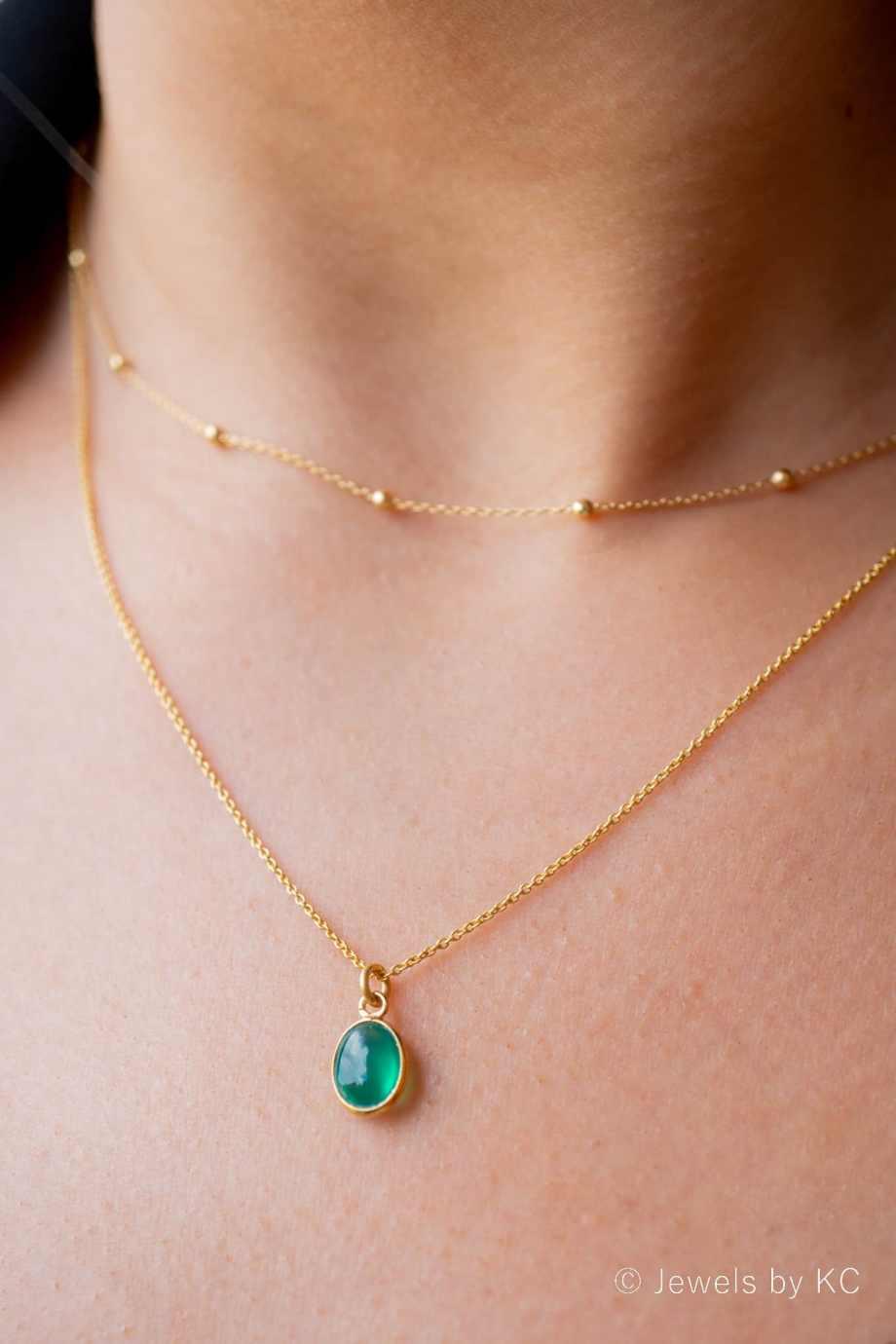 Gouden edelsteen ketting met groene Onyx van Goud op Zilver