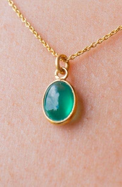 Gouden edelsteen ketting groene Onyx van Goud op Zilver
