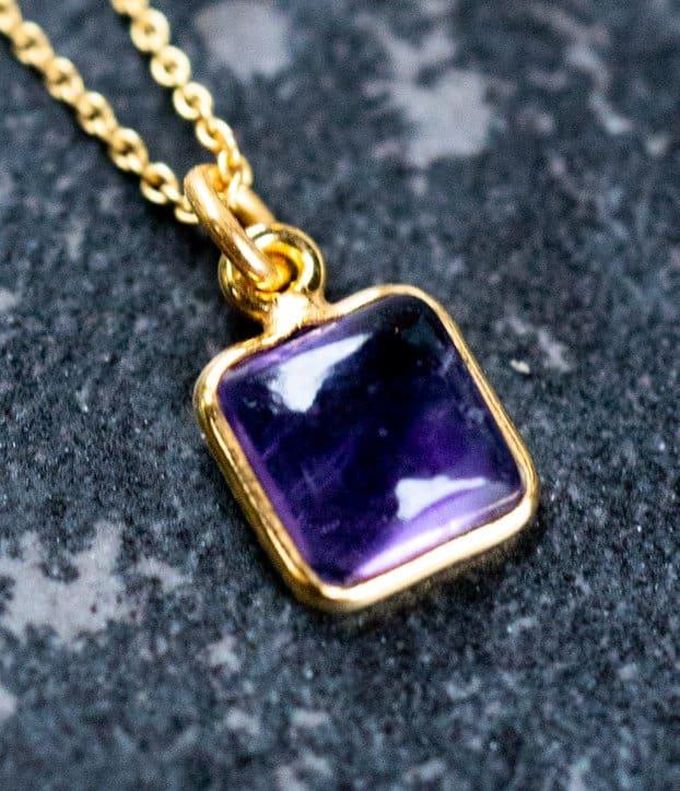 Gouden edelsteen-ketting square paarse Amethist van Goud op Zilver